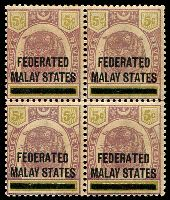 Lot 3824:1900 'FEDERATED/MALAY STATES' on Perak SG #9 5c dull purple & olive-yellow block of 4 (2 units MUH), gum a little aged, Cat £120.