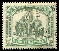 Lot 3827:1904-22 Wmk Mult Crown CA SG #48 $1 grey-green & green, fiscal datestamp, Cat £50.