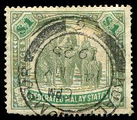 Lot 4306:1904-22 Wmk Mult Crown CA SG #48 $1 grey-green & green, a few pulled perfs, Cat £50.