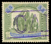 Lot 4307:1904-22 Wmk Mult Crown CA SG #50 $5 green & blue, small surface abrasions, Cat £160, fiscal datestamp