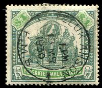 Lot 3829:1922-34 Wmk Mult Script CA SG #76a $1 grey-green & emerald, Cat £55, 1930 Teluk Anson cds.