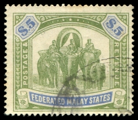 Lot 21713:1922-34 Wmk Mult Script CA SG #80 $5 green & blue, Cat £275, fiscal datestamp