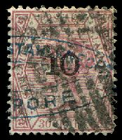Lot 3897:1880 Surcharges SG #34 '10' (type b) on 30c, barred cancel and forwarding agents handstamp, Cat £60.