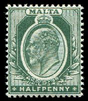 Lot 22861:1903-04 KEVII CA SG #38 ½d green, Cat £10.