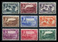 Lot 3902:1938-48 KGVI Pictorials SG #101a-9a ½d to 2/6d set of P14 issues, Cat £39. (9)