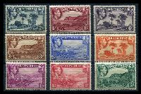 Lot 25201:1938-48 KGVI Pictorials SG #101-9 ½d to 2/6d set of P13 issues, Cat £172. (9)