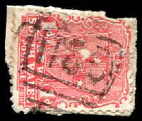Lot 5492:1185: BN on 1d Arms on piece. [Rated 4R]  Allocated to Bolivia-PO 30/4/1883; TO 2/2/1979; closed 28/2/1982.