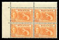 Lot 4122 [2 of 2]:1950 Pictorials SG #171,177 1c Butterfly block of 4 (2 units MUH) & 10c Pangolin TLC block of 4 (hinged in margin only), Cat £16.