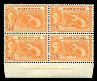 Lot 27855:1950 Pictorials SG #177 10c Pangolin imprint block of 4 (2 units hinged), Cat £13+.
