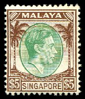 Lot 27993:1948-52 KGVI Perf 14 SG #15 $5 green & brown, Cat £110.