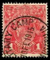 Lot 1792:Military Camp: - '[MIL]ITARY CAMP/10FE1915/[STH] AUSTRALIA' on 1d red KGV. [Rated 3R]  PO 21/8/1914; closed c.1915.