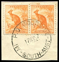 Lot 10205:Woodside Camp: - 'MI  P.O. WOODSIDE/10AP57/SOUTH-AUST' (L. removed) on ½d Roo pair on piece.  PO 9/5/1949; closed 5/2/1993.