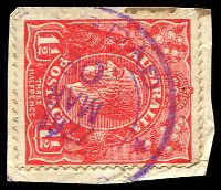 Lot 1784:Bagdad: light double-circle '[BA]GDAD/30/MAR/1927/[*TASMANIA]*' (month inverted) on 1½d red KGV. [Rated R]  PO 1/12/1878.