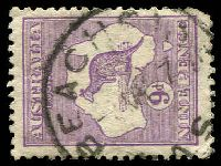 Lot 2036:Beachside: - 'BEACHSIDE/?MR27/[T]AS', on 9d Roo. [Rated 2R]  Renamed from Sandy Bay Lower PO 3/4/1921; renamed Sandy Bay Lower PO 31/5/1968.