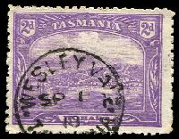 Lot 1860:Wesley Vale: framed 'WESLEY VALE/SP1/10/TA[SMAN]IA' on 2d Pictorial.  PO 1/8/1880.