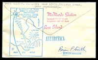 Lot 4763 [2 of 2]:1971 (Nov 19) air cover from McMurdo Station to Australia, cancelled with 'U.S. NAVY/NOV/PM/19/1971/10738 BR.' Geodetic Satelite handstamp and Ross Island handstamp on back with signature of the Station Manager.