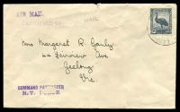 Lot 1155:1943 use of 5½d Emu with poor FPO 072 cancel (Adelaide River NT), violet 'AIR MAIL', CERTIFIED OFFICIAL MAIL' & 'COMMAND PAYMASTER/N.T. FORC