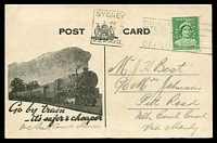 Lot 1118:1939 (Jun 24) use of 1d green QE perf 'G/NSW' on Department of Railways printed card with printed parcel pick up message and steam train on face.