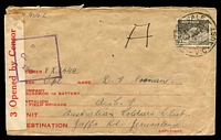 Lot 4621:1941 (Oct 21) use of 9d Platypus on censored air cover to soldier in Palestine.
