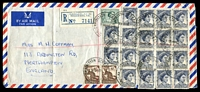 Lot 1126 [1 of 2]:1962 (May 31) used of 5d x18, 3d & 6d x2 on registered air cover from Exhibition St to England. [8/9d - 2/6d x3 & 2/- registration]