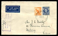 Lot 1159:Army P.O. 'ARMY P.O./4OC43/0117.' (Noonamah, N.T.), on 3½d blue KGVI & ½d orange Roo, on air cover to Geelong with boxed 'AUSTRALIAN/IMPERIAL FORCES/PASSED BY CENSOR/806' (A1) in purple.
