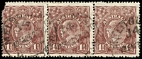 Lot 2436:1½d Brown Die I - strip of 3 [12R13-15], unit 13 (damaged) Flaw on R & unit 15 Break in shading lines above left wattle spray.
