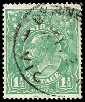 Lot 276:1½d Green Die I - BW #88(11)ja [11R4] Retouched NW corner - State II, Cat $30.