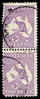Lot 980:9d Violet BW #29(4)ia [4L6,12] unit 12 Broken shading line of 2nd E of PENCE State II - white flaw after E of POSTAGE, Cat $100, rounded corner.