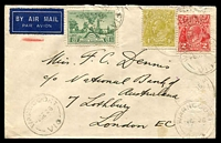 Lot 853:1936 SA Centenary BW #173 1/- plus KGV 2d & 4d on 1936 (Dec 1) air cover from Warncoort to England, Cat $200+.