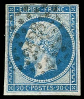 Lot 3966:2128: small '2128' of Montpellier on imperf 20c Napoleon.