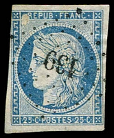 Lot 3952:1849-51 Ceres Imperf SG #12 25c pale blue, almost 4 margins, small '139' of Ars-en-Ré, Cat £65.