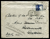 Lot 1216 [1 of 2]:1904 (Aug) use of 2½d deep blue Jubilee on State Government House, Sydney cover (odd fault) to Capt Egerton, HMS Vernon and redirect to HMS Duncan, Mediterranean, initialed HHR (Sir Harry H Rawson, Governor) at lower left.