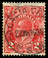 Lot 6274:Acacia Creek: - 'ACACIA CRE[EK]/22MY1938/N.S.W' on 2d red KGV.  Opened 16/1/1880; TO 1/10/1959; closed 30/12/1964.