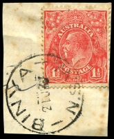 Lot 1300:Binya: - 'BINYA/21JE7/N.S.W.' (error for 1927?) on 1½d red KGV on piece  RO 19/6/1916; PO 1/8/1917.