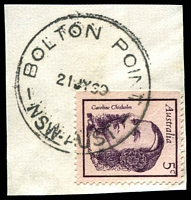 Lot 1302:Bolton Point: - 'BOLTON POINT/21JY68/NSW-AUST' (LRD by 3yrs) on 5c Chisholm on piece. [Hopson & Tobin record 1966 only.]  TO c.1927; PO 8/5/1933; closed 27/2/1971.