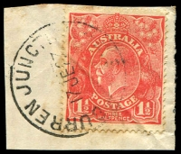 Lot 5696:Burren Junction: - 'BURREN JUNC[TION]/17JE27/[N.S.W]' on 1½d red KGV on piece.  PO 16/5/1904.