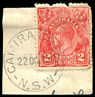 Lot 1312:Camira Creek: - 'CAMIRA CREEK/22OC35/N.S.W' on 2d red KGV on piece.  RO 11/5/1908; PO 1/12/1909; closed 14/2/1974.