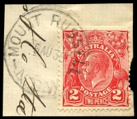 Lot 1401:Mount Russell: - 'MOUNT RUSSELL/5AU36/N.S.W' on 2d red KGV on piece.  PO 15/3/1911; closed 30/4/1979.