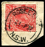 Lot 1437:Rosebery: - 'ROSEBE[RY]/24AP37/N.S.W.' on 2d red KGV on piece. [Hopson & Tobin record use of 2yrs only.]  PO 1/8/1933.