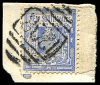 Lot 6005:1208: BN on 2d blue on piece. [Rated 3R]  Allocated to Wimbledon-PO 1/9/1883; closed 15/9/1962.