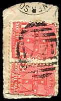 Lot 978:1771: '1771' on 1d Arms pair on piece, tied by sm-part '[LO]WER SO[UTHGATE]'. [Rated 3R]  Allocated to Lower Southgate-RO 1/12/1892; PO 16/10/1895; closed 31/3/1964.