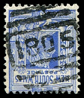 Lot 6400:1805: on 2d blue. [Rated 3R - the first offered by us]  Allocated to Wagonga-PO 16/7/1896; closed 8/2/1946.