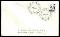 Lot 1119:Central Australian Railway No. 2: 2 strikes of 'CENTRAL AUST RAIL/15SE72/STH AUST' on 7c on philatelic cover to Melbourne  PO 3/6/1957; closed 3/1/1981.