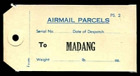 Lot 4168:Airmail Parcels: mail bag label to Madang (1960s?).