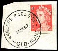 Lot 1560:Anglers Paradise: - 'ANGLERS PARADISE/13SE67/QLD-AUST' on 4c red on piece.  From Nyamba -/6/1962; closed 30/9/1974.
