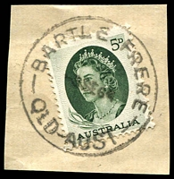 Lot 1181:Bartle Frere: 'BARTLE FRERE/3SE64/QLD-AUST' on 5d green QEII on piece. [Rated R]  PO 15/5/1933; closed 30/4/1980.