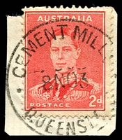 Lot 1610:Cement Mills: - 'CEMENT MILL[S]/8NO39/QUEENSL[AND]' on 2d red KGVI on piece.  Renamed from Cementmills RO c.-/3/1918; PO 20/4/1925; closed 19/7/1984.