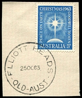 Lot 1621:Elliott Heads: - 'ELLIOTT HEADS/25OC63/QLD-AUST' on 5d Xmas on piece.  PO c.-/1/1952; closed 27/11/1986.