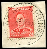 Lot 1655:Innot Hot Springs (2): - 'INNOT HOT SPRINGS/29JY40/QLD' (LRD) on 2d red KGVI on piece. [Rated 3R]  PO 8/12/1936; closed 1/9/1993.