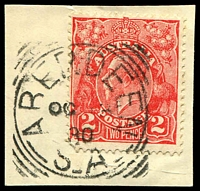 Lot 1740:Aberdeen: - 27mm squared-circle 'ABERDEEN/OC13/30/S_A' on 2d red KGV.  PO c.1874; renamed Burra North PO 1/12/1939.